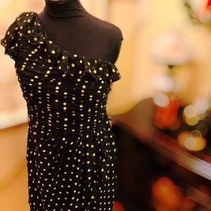 Yellow Polka Dot One-shoulder Dress